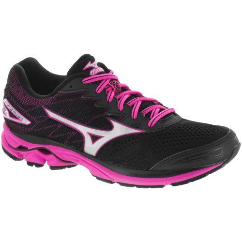 Mizuno Wave Rider 20: Mizuno Women's Running Shoes Black/White/Pink Glo
