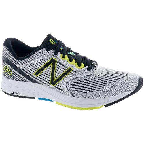 New Balance 890v6: New Balance Men's Running Shoes White Munsell/Black/Hi-Lite/Maldives Blue