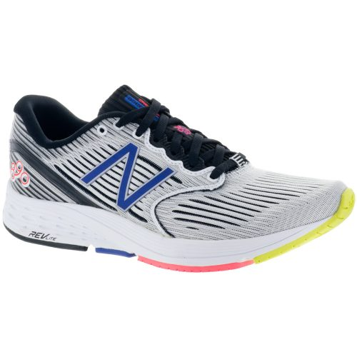 New Balance 890v6: New Balance Women's Running Shoes White Munsell/Black/Blue Iris/Vivid Coral