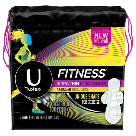 U by Kotex Fitness Ultra Thin Pads with Wings, Regular Absorbency Unscented - 15 ea
