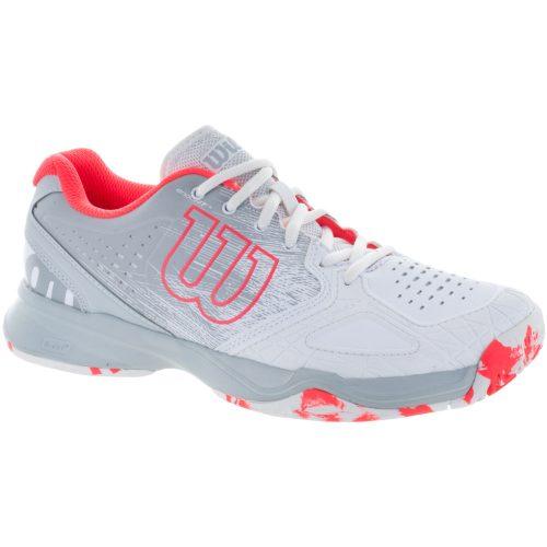 Wilson Kaos Comp: Wilson Women's Tennis Shoes White/Pearl Blue/ Fiery Coral