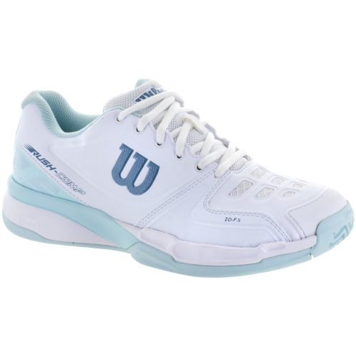 Wilson Rush Comp: Wilson Women's Tennis Shoes White/Blue Glow/Provincial Blue