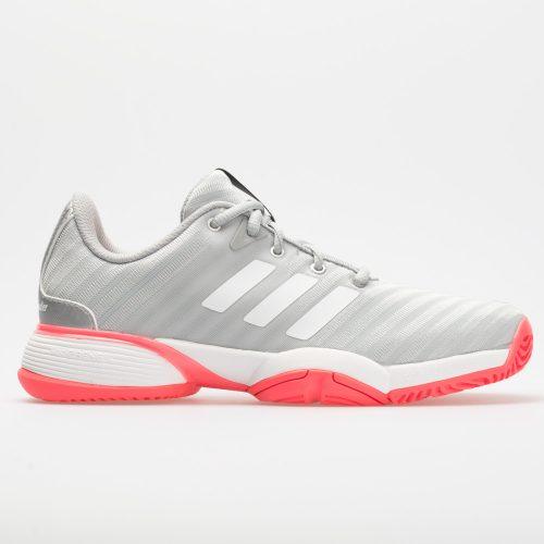 adidas Barricade 2018 Junior Matte Silver/White/Flash Red: adidas Junior Tennis Shoes