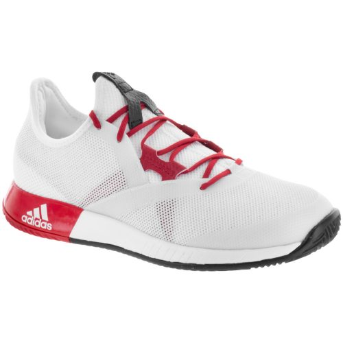 adidas adizero Defiant Bounce: adidas Women's Tennis Shoes White/Scarlet/Core Black