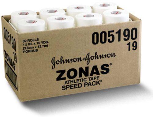 "1 1/2"" Johnson & Johnson ZONAS Plain Athletic Tape - 15 yards (32 rolls)"