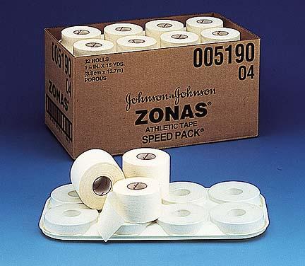 "1 1/2"" Johnson & Johnson ZONAS Porous Athletic Tape - 15 yards (32 rolls)"