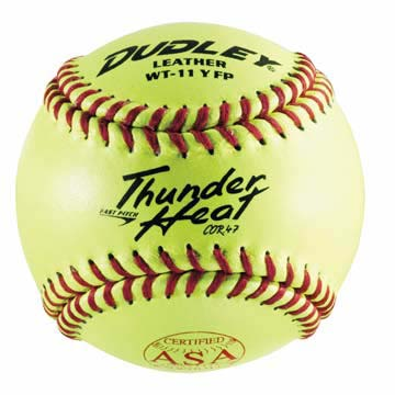 "11"" Spalding Thunder Heat WT11 .47 COR ASA Red Stitch Leather Yellow Softballs from Dudley - (One Dozen)"