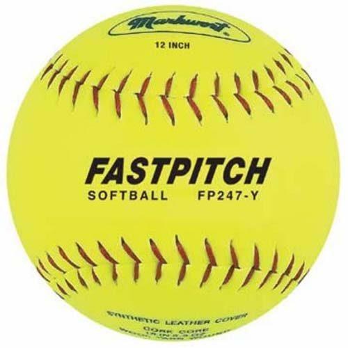"12"" Yellow Genuine Leather Fast Pitch Softballs from Markwort - 1 Dozen"