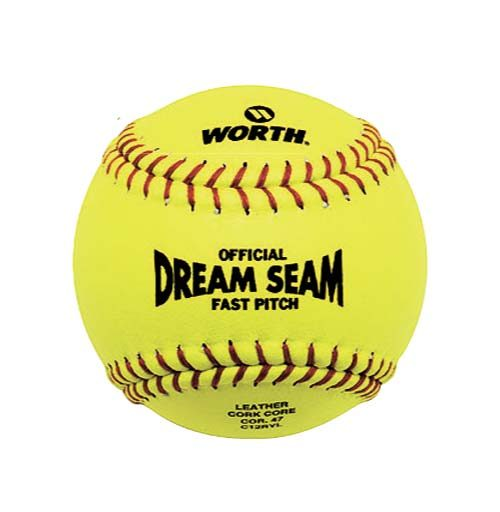 "12"" Yellow Leather Fast Pitch Softballs from Worth - 1 Dozen"