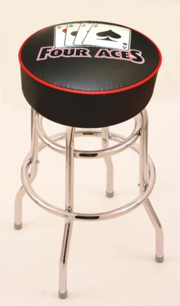 """4 Aces"""" (L7C1) 25"""" Tall Logo Bar Stool by Holland Bar Stool Company (with Double Ring Swivel Chrome Base)"""