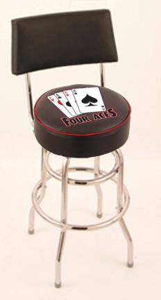 """4 Aces"""" (L7C4) 25"""" Tall Logo Bar Stool by Holland Bar Stool Company (with Double Ring Swivel Chrome Base and Chair Seat Back)"""