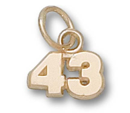 """5 mm 1/4"""" Double Number (No Bar) Charm - 14KT Gold Jewelry"""