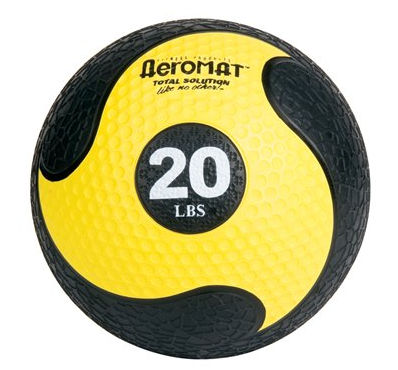 AGM Group 35868 Elite Deluxe Low Bounce Medicine Ball - Black-Yellow 20 Lb