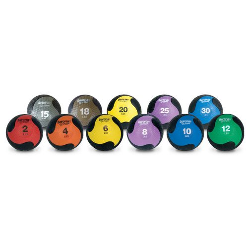 AeroMat 35866 15 lbs Elite Deluxe Medicine Ball Low Bounce - Black with Gray