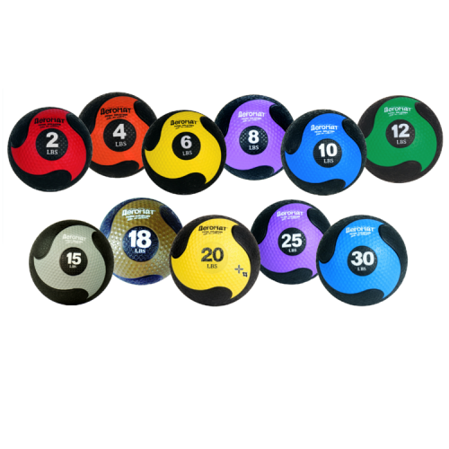 AeroMat 35936 10.8 in. Deluxe Medicine Ball - Black & Yellow 20 lbs