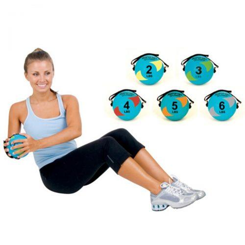 AeroMat 35944 5 in. Power Yoga & Pilates Weight Ball - Teal & Gray 6 lbs