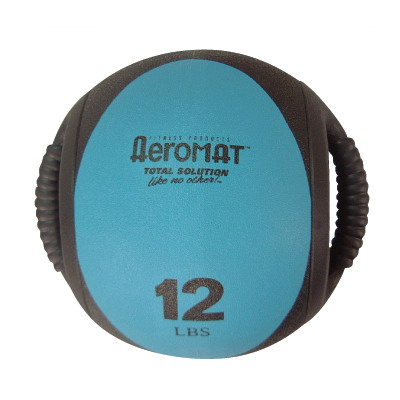 Aeromat 35134 Dual Grip Power Med Ball 9 in. Dia. 12 LB Black- Teal