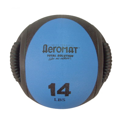Aeromat 35135 Dual Grip Power Med Ball 9 in. Dia. 14 LB Black- Blue