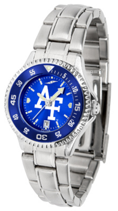 Air Force Academy Falcons Competitor AnoChrome Ladies Watch with Steel Band and Colored Bezel