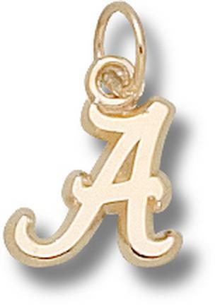 "Alabama Crimson Tide 3/8"" Script ""A"" Charm - 14KT Gold Jewelry"