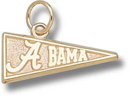 "Alabama Crimson Tide 5/16"" ""A Bama Pennant"" Charm - 10KT Gold Jewelry"