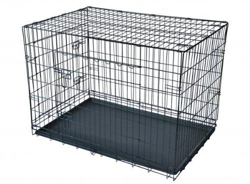 Aleko SDC-2D-30B-UNB 30 in. 2 Doors Folding Suitcase Dog Cat Crate Cage Kennel with ABS Tray