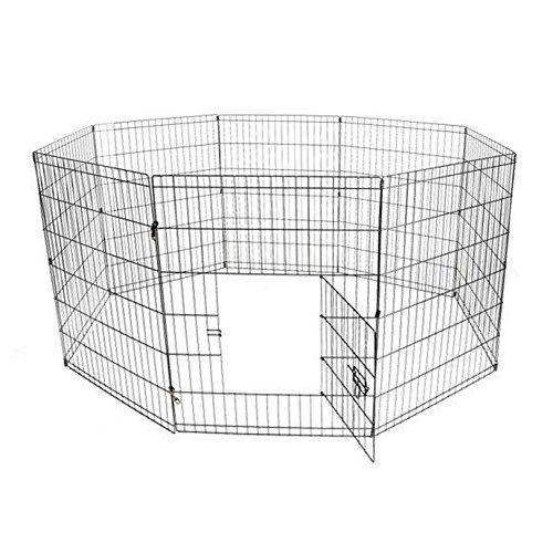 Aleko SDK-30B-UNB 30 in. 8 Panel Dog Playpen Pet Kennel Pen Exercise Cage Fence Black