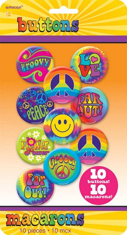 Amscan 391651 Feeling Groovy Buttons - Pack of 120