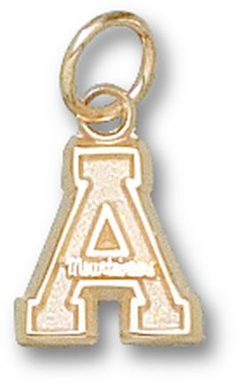 """Appalachian State Mountaineers 3/8"""" """"A"""" Charm - 14KT Gold Jewelry"""