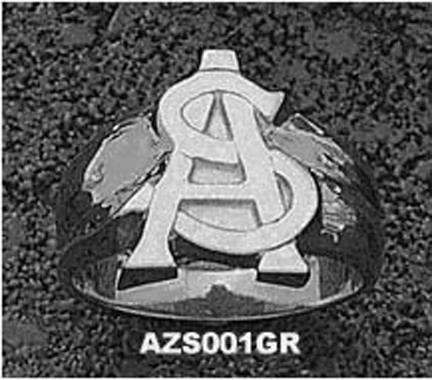 """Arizona State Sun Devils """"AS"""" Men's Ring Size 9 1/2 - Sterling Silver Jewelry"""