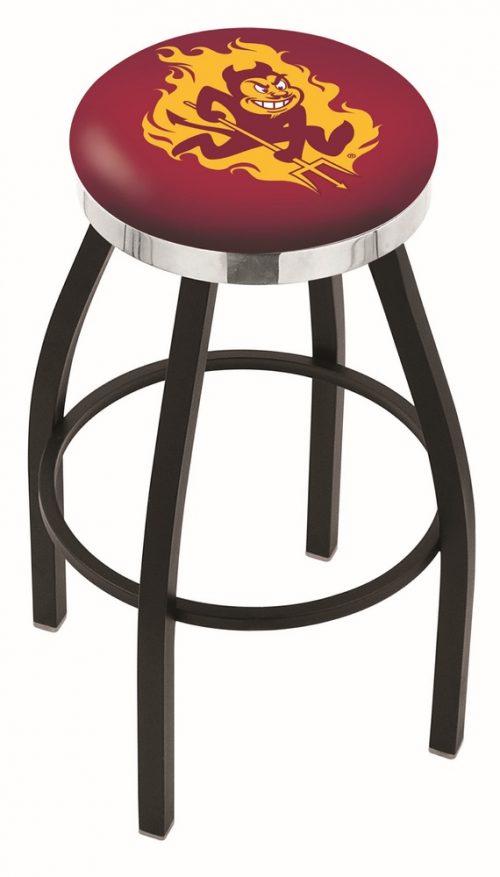 "Arizona State Sun Devils (L8B2C) 25"" Tall Logo Bar Stool by Holland Bar Stool Company (with Single Ring Swivel Black Solid Welded Base)"