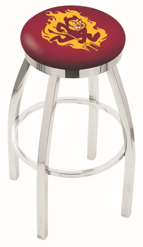 """Arizona State Sun Devils (L8C2C) 25"""" Tall Logo Bar Stool by Holland Bar Stool Company (with Single Ring Swivel Chrome Solid Welded Base)"""