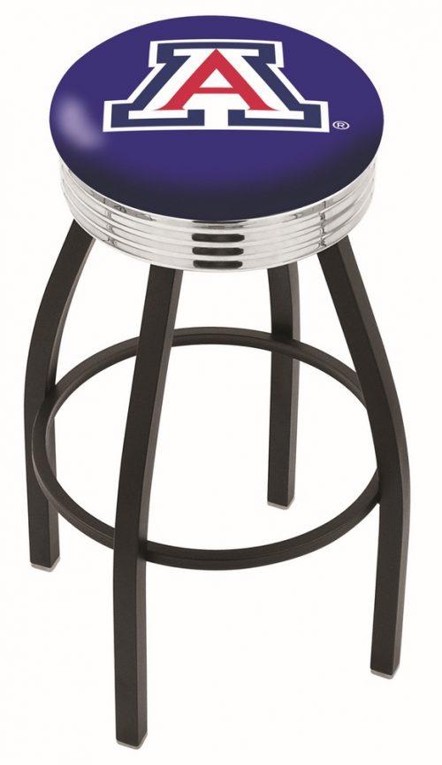 "Arizona Wildcats (L8B3C) 30"" Tall Logo Bar Stool by Holland Bar Stool Company (with Single Ring Swivel Black Solid Welded Base)"