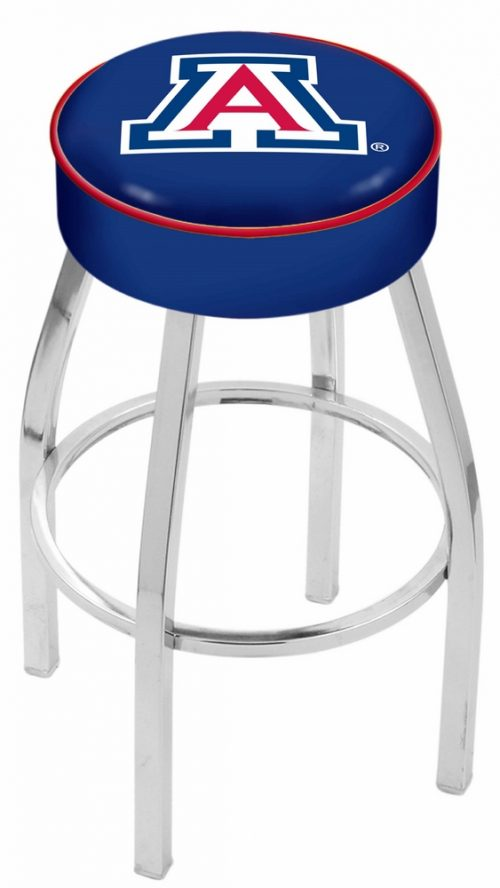"Arizona Wildcats (L8C1) 25"" Tall Logo Bar Stool by Holland Bar Stool Company (with Single Ring Swivel Chrome Solid Welded Base)"