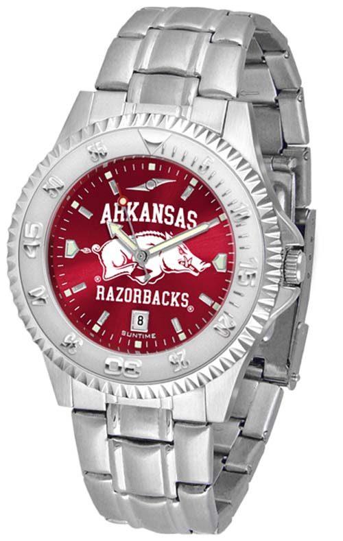 Arkansas Razorbacks Competitor AnoChrome Men's Watch with Steel Band