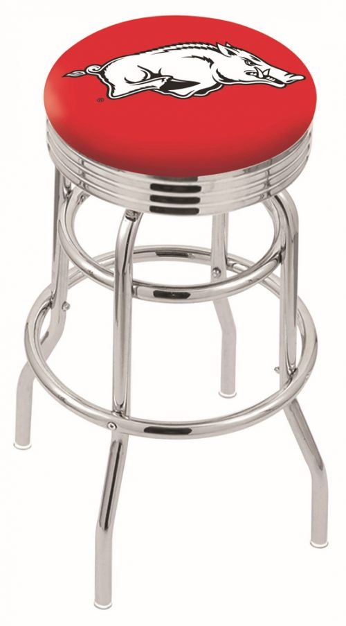 "Arkansas Razorbacks (L7C3C) 25"" Tall Logo Bar Stool by Holland Bar Stool Company (with Double Ring Swivel Chrome Base)"