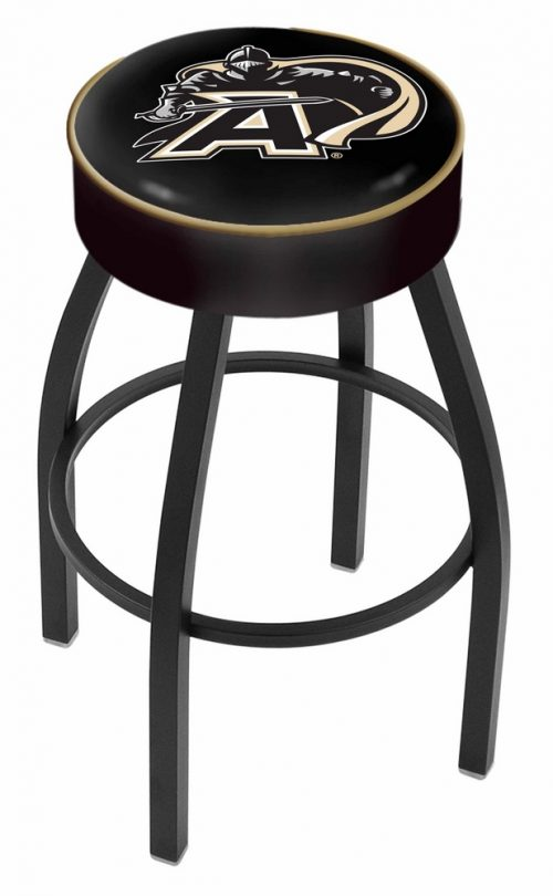 """Army Black Knights (L8B1) 30"""" Tall Logo Bar Stool by Holland Bar Stool Company (with Single Ring Swivel Black Solid Welded Base)"""