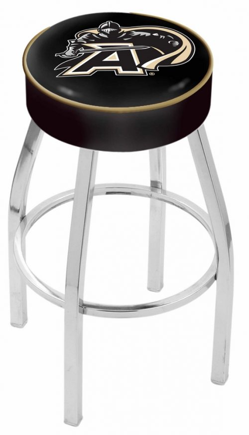 """Army Black Knights (L8C1) 30"""" Tall Logo Bar Stool by Holland Bar Stool Company (with Single Ring Swivel Chrome Solid Welded Base)"""