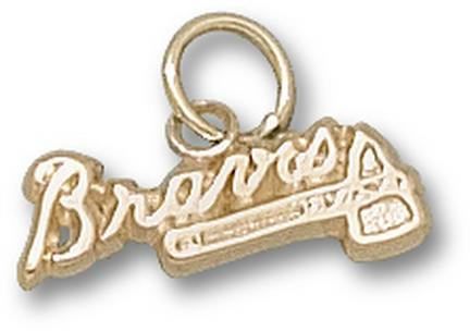 """Atlanta Braves """"Braves with Tomahawk"""" 5/16"""" Charm - 14KT Gold Jewelry"""