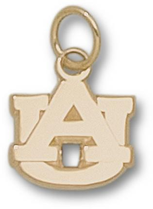 "Auburn Tigers 3/8"" Polished ""AU"" Charm - 10KT Gold Jewelry"