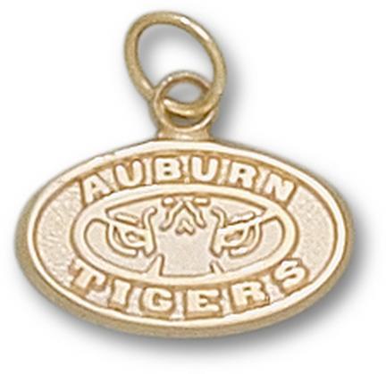 """Auburn Tigers 3/8"""" """"Tiger Eye"""" Charm - 10KT Gold Jewelry"""