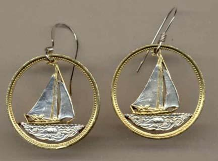 Bahamas 25 Cent Two Toned Coin Cut Out Earrings