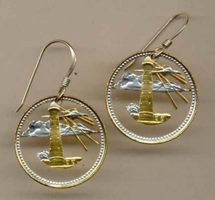"""Barbados 5 Cent """"Lighthouse"""" Two Toned Coin Cut Out Earrings"""