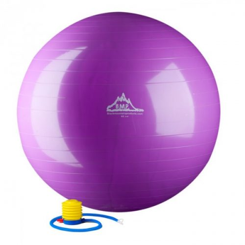 Black Mountain Products 55cm Purple Gym Ball 55 cm. Static Strength Exercise Stability Ball Purple
