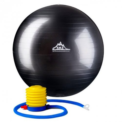 Black Mountain Products 65cm Black Gym Ball 65 cm. Static Strength Exercise Stability Ball Black
