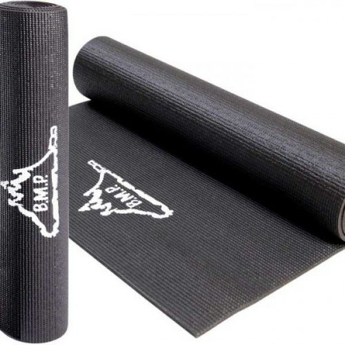 Black Mountain Products Black Exercise Mat 0.5 in. Yoga And Exercise Mat Black