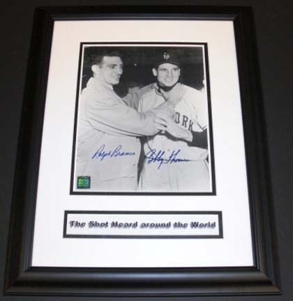 "Bobby Thomson (New York Giants) and Ralph Branca (Brooklyn Dodgers) Dual Autographed ""Choking"" 8"" x 10"" Custom Framed Photograph"