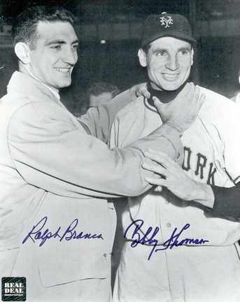 """Bobby Thomson and Ralph Branca Autographed """"Choking"""" Black and White 8"""" x 10"""" Photograph (Unframed)"""
