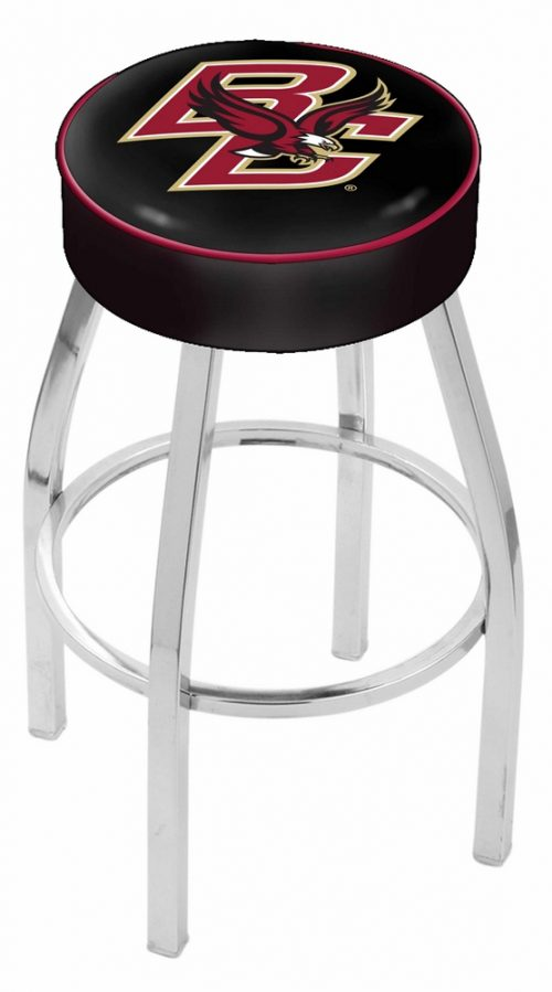 """Boston College Eagles (L8C1) 25"""" Tall Logo Bar Stool by Holland Bar Stool Company (with Single Ring Swivel Chrome Solid Welded Base)"""