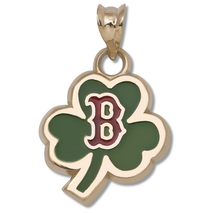 "Boston Red Sox 1/2"" Enamel ""B"" Logo Clover Pendant - 10KT Gold Jewelry"